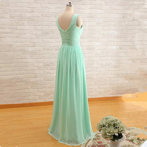 Image 3 - QNZL95#Custom Colors Long Bridesmaid Dresses Mint Green Chiffon Wedding Party Dress Party Gown Wholesale Womens Cheap Clothing