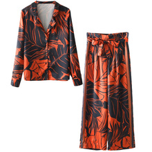 Women's suit Europe and the United States tropical seaside beach holiday suit casual pajamas printing two / piece set цена 2017