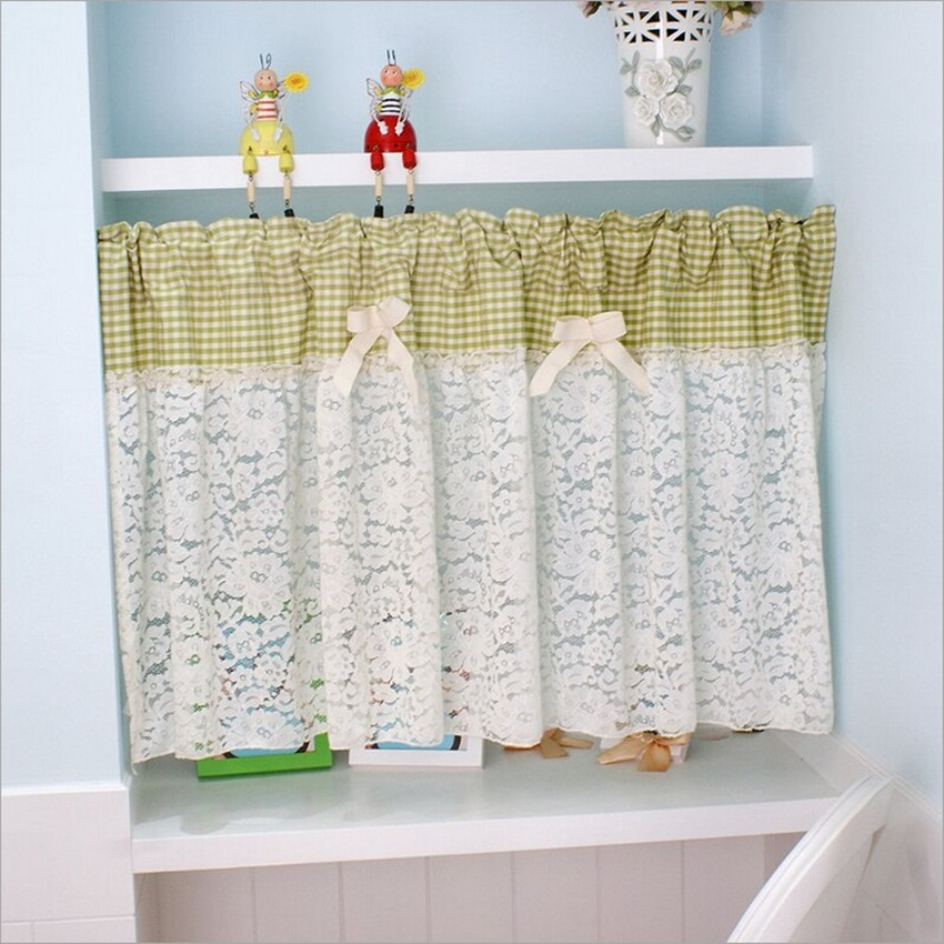 3 Piece Faux Cotton Espresso Brown Kitchen Window Curtain: 1 Panel Fresh Green Plaid Lace Bow Coffee Curtain Kitchen