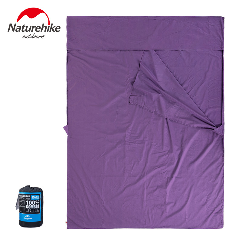 Naturehike Double Envelope Sleeping Bag Liner Cotton Ultralight Portable Camping Travel 2 Person Summer Sleeping Bag 160*220cm