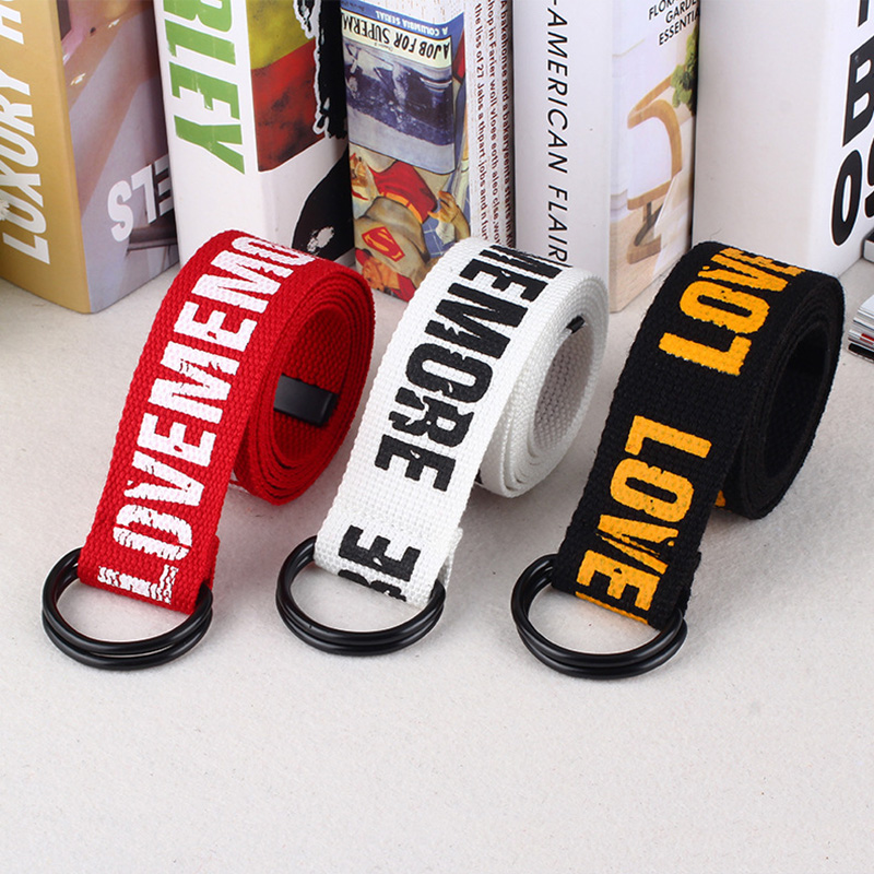 OFF White Harajuku Belt Red Letter Printed Fashion Unisex Double D Ring Canvas Strap Female Long Belts Jeans Belts For Women