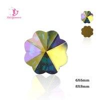 288pcs Crystal AB Flower FlatBack Non HotFix Rhinestone 8,6mm Nail Art Crystal Strass Crystal Rhinestones Phone Case Decoration