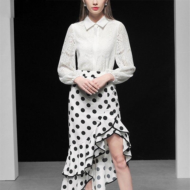 Costumes En Imprimer Irrégulière Top Supérieure Designer Lanterne Dentelle De Ensembles Printemps Femmes Jupe Qualité Élégante 2019 Blanc Piste Jeu Manches Dot g6XpgUS