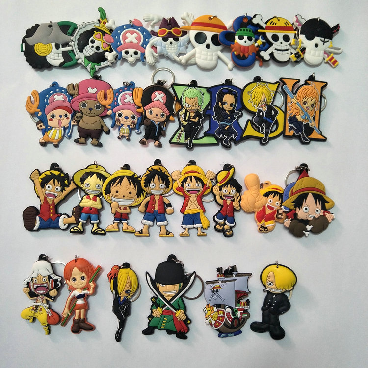 35 Pcs set Anime One piece pvc figure toy Luffy Chopper Solon Keychain keyring pendant toys