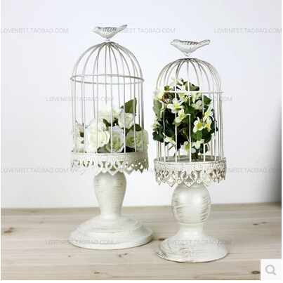 French Retro Iron White Fashion Bird Cage Decoration Table