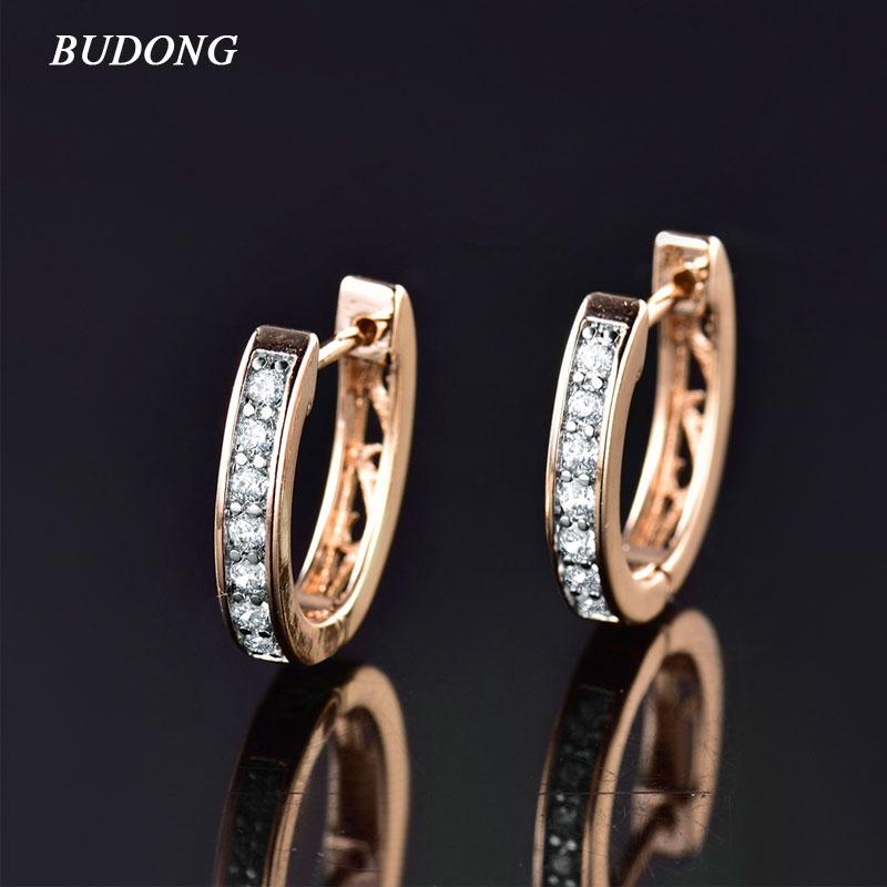 BUDONG Fashion Women Circle Huggies Earing Silver Gold Color Hoop Earring White font b Crystal b