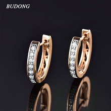 BUDONG Fashion Women Circle Huggies Earing Silver/Gold-Color Hoop Earring White Crystal Cubic Zircon Engagement Jewelry XUE110