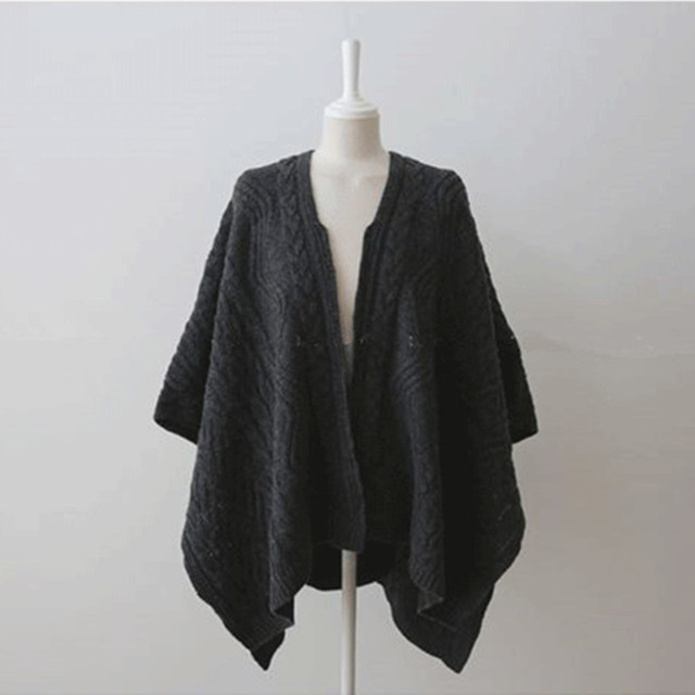 Cardigan Irregular Batwing Tops Knitted Poncho Sweater 4