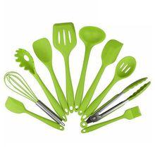 10 pçs utensílios de cozinha silicone resistente ao calor utensílios de cozinha não vara ferramenta de cozimento conjuntos de ferramentas de cozimento