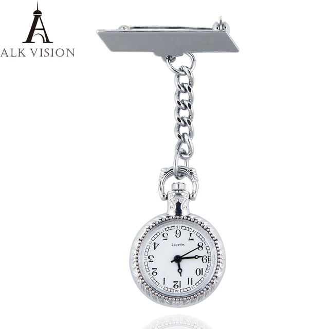 Silver Clip-on Fob Nurse Watch Japan Quartz Movement Brooch Hanging Watches for