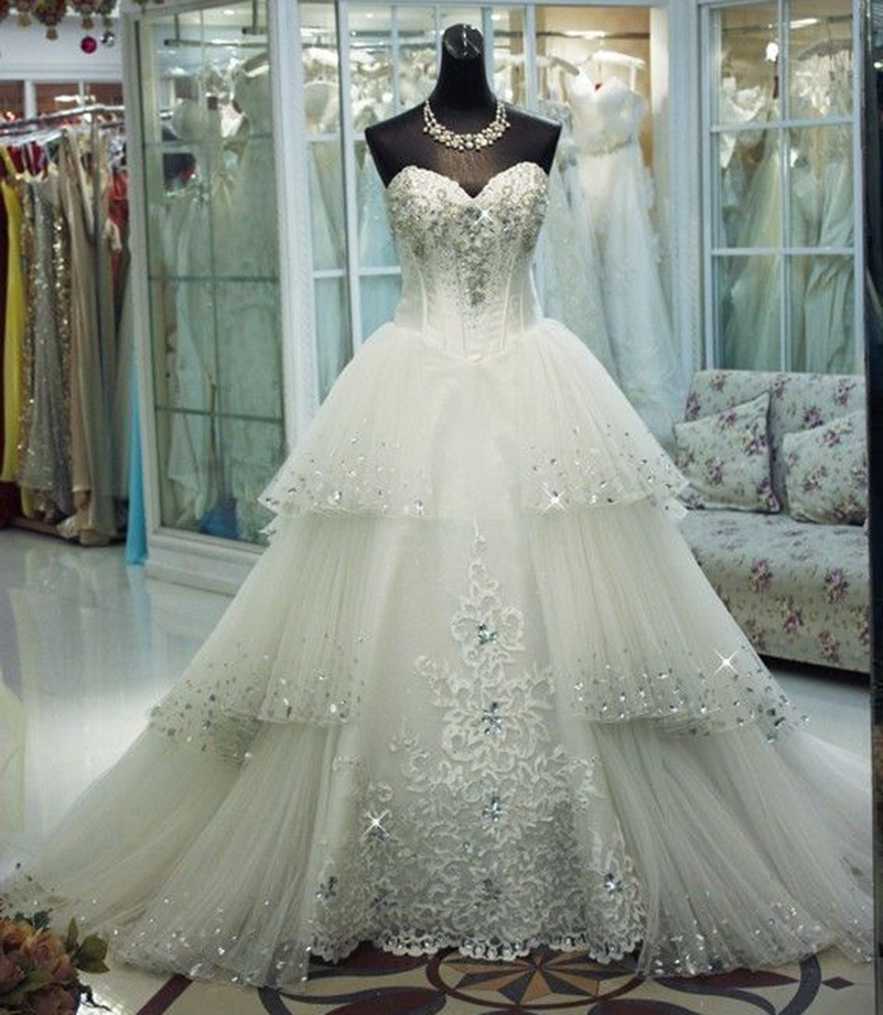 Vestidos De Novia Sweetheart Lace Princess Wedding Dresses Uk Bling Tulle Plu