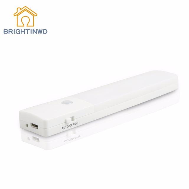 Usb recarregável motion sensor lâmpada led sob a luz do armário roupeiro armário da cozinha de poupança de energia luz conduzida da noite