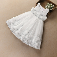 Hurave New Baby Girl Clothes Children Summer Sleeveless Tutu Dress Kids Clothes Embroidery Flower Solid Mesh