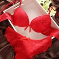 Lace Sexy Thin Deep V-neck Push Up Underwear hot-selling Vintage Solid Color Bra Set