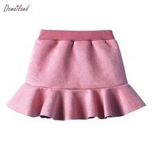 2017 Nouvelle Mode d'hiver Enfants Fille vêtements solide Jupes à volants Belle coton A-ligne mini Jupes Pour Filles vêtements
