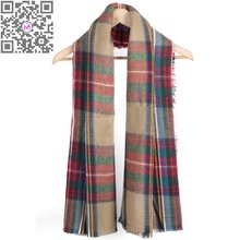 Winter Warm Tartan Plaid Scarf European Style New Design Vintage Unisex Acrylic Basic Shawls Women's Pashmina Scarves Hot Sale