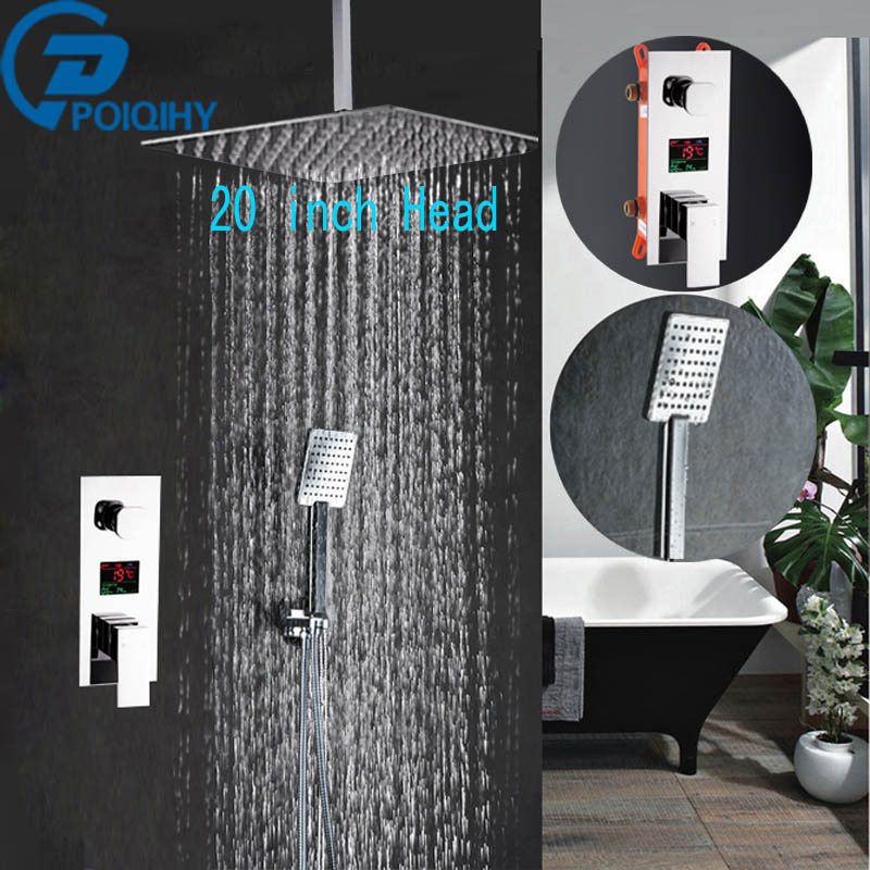 Chrome 20 Shower Set Faucet Stainless Steel Rainfall Bathroom Shower Mixer Tap Wall Mount bath Waterfall Tap chrome bathroom thermostatic mixer shower faucet set dual handles wall mount bath shower kit with 8 rainfall showerhead