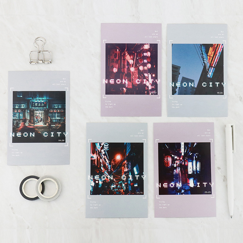 30pcs city hide in neon light theme card multi-use as Scrapbooking party invitation DIY gift card message card postcard