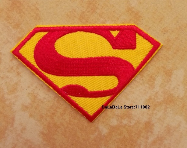 7.4 x 5cm  Embroidered Superman Iron On Patches sew on patch  DIY accessory Applique Badge  Wholesale 20pcs/lot