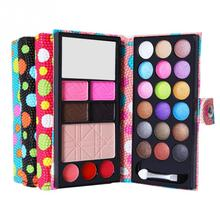 Cosmetics Shimmer Pearl Eyeshadow Palette Natural 26 Colors Makeup Modification Lip Gloss Blush Set with Button Bag