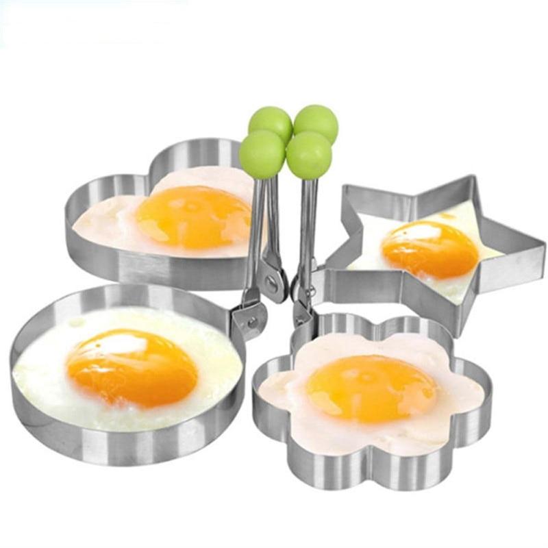 Verkauf 1 Stück Egg Shaper Heart Star Edelstahl Ei Form Küchenhelfer Tools Kochen