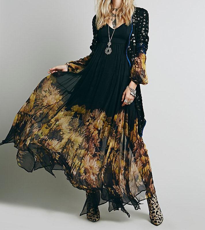 9a81a81620 Aliexpress.com : Buy Black Boho Dress Sheer Split Long Sleeve Rayon ...