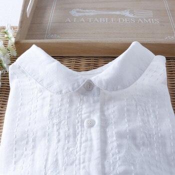 bb0142682324dfd Однотонная белая хлопковая 100% с длинным рукавом ручной работы вышивка  рубашка Винтаж Блузка женская 2019 Весна