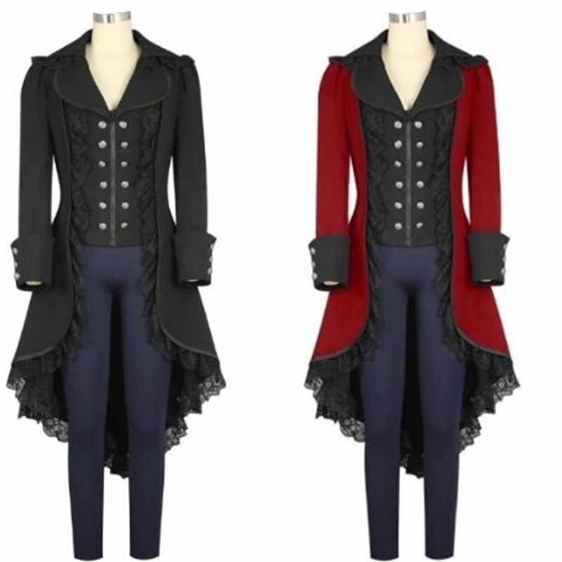 ZLY Medieval Gothic Steampunk Corset Tailcoat Halloween Costumes for Women Victorian Renaissance Pirate Vampire Jackets Coat