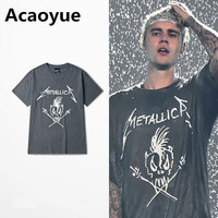 Metallica T Shirt Justin Bieber Dark Grey Cotton T Shirt Fear Of God Punk Rock Star