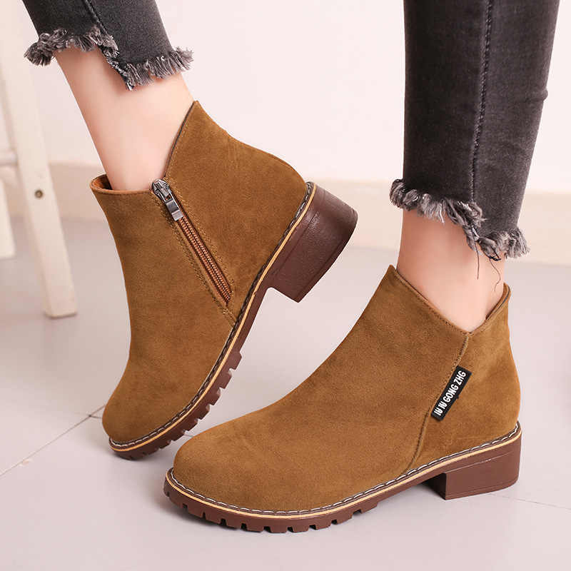 Mode Herbst Winter Zipper Flock Booties Frauen Schuhe Runde Kappe Med Platz Heels Damen Warme Casual Solide Ankle Stiefel Schuhe