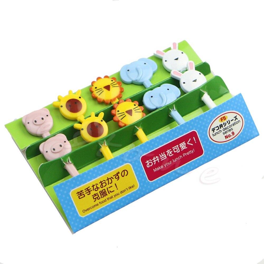 10 pièces Mini Kawaii Animal ferme bande dessinée fourchette fruits enfants Snack gâteau Dessert nourriture fruits choisir cure-dents signe Bento déjeuners