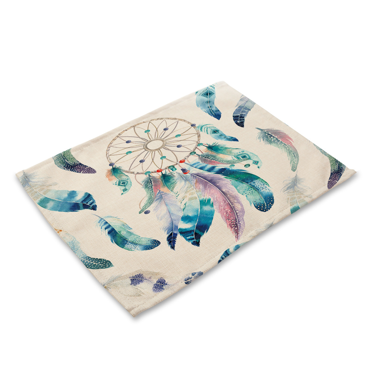 Dreamcatcher Feathers Cloth Placemats Waterproof Insulation Pad Coaster Kitchen Mat Decorative Table Decoration Accessories in Tablecloths from Home Garden