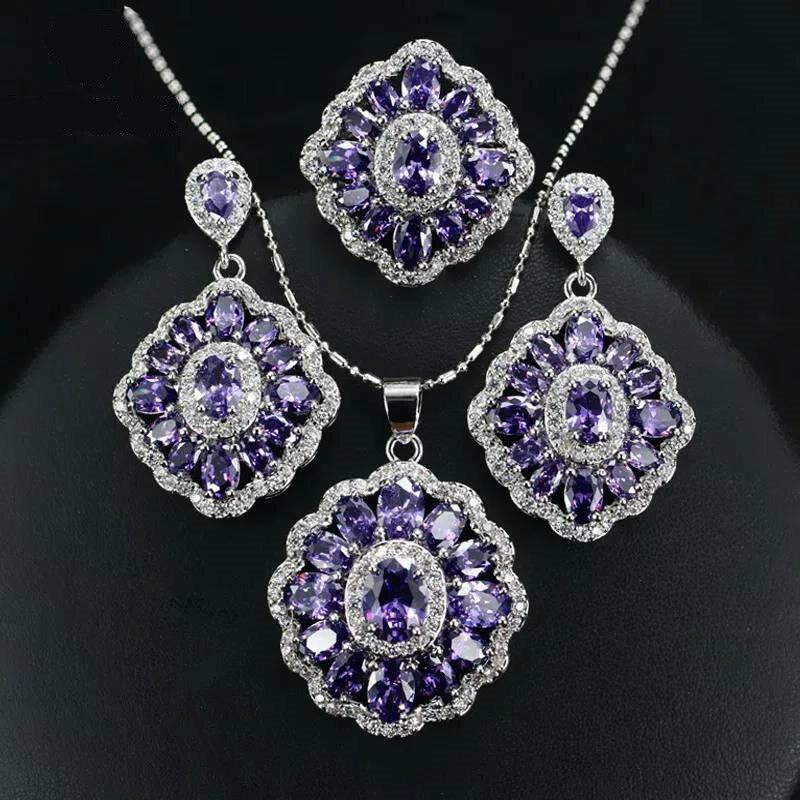 Wedding-Jewelry-Sets Earrings Necklaces Purple Accessories Zircon Silver Indian Women
