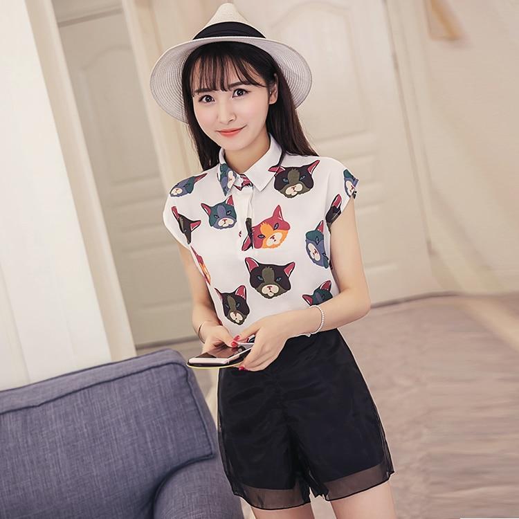 Fashion Casual Women   Shirts   Chiffon Cat Seersucker + Organza   Blouse     Shirt   White Black 1688