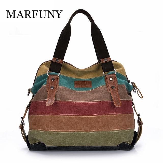 MARFUNY Colorful Women Canvas Shoulder Bag Large Satchel Handbags Ladies  Patchwork Crossbody Messenger Bag Women Casual Tote Bag 5afdfc7858b46
