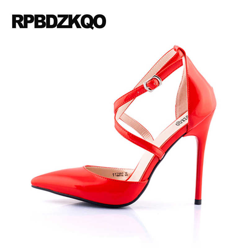 addff78ed9cd ... Red Prom Shoes High Heels 11 43 Ladies White Super Cross Strap  Crossdresser Stiletto Patent Leather