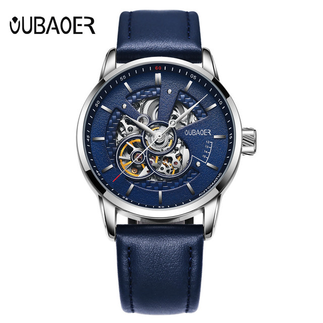 OUBAOER Original Men Watch Top Brand Luxury Automatic Mechanical Watch Leather Military Watches Clock Men Relojes Masculino 1