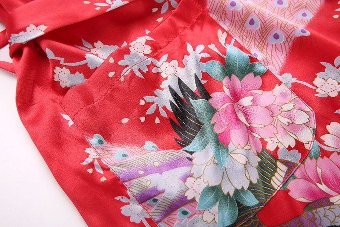 Red Plus Size XXXL Chinese Women Satin Robe Gown Japanese Geisha Yukata Kimono Bathrobe Sexy Sleepwear Flower Nightgown LK02