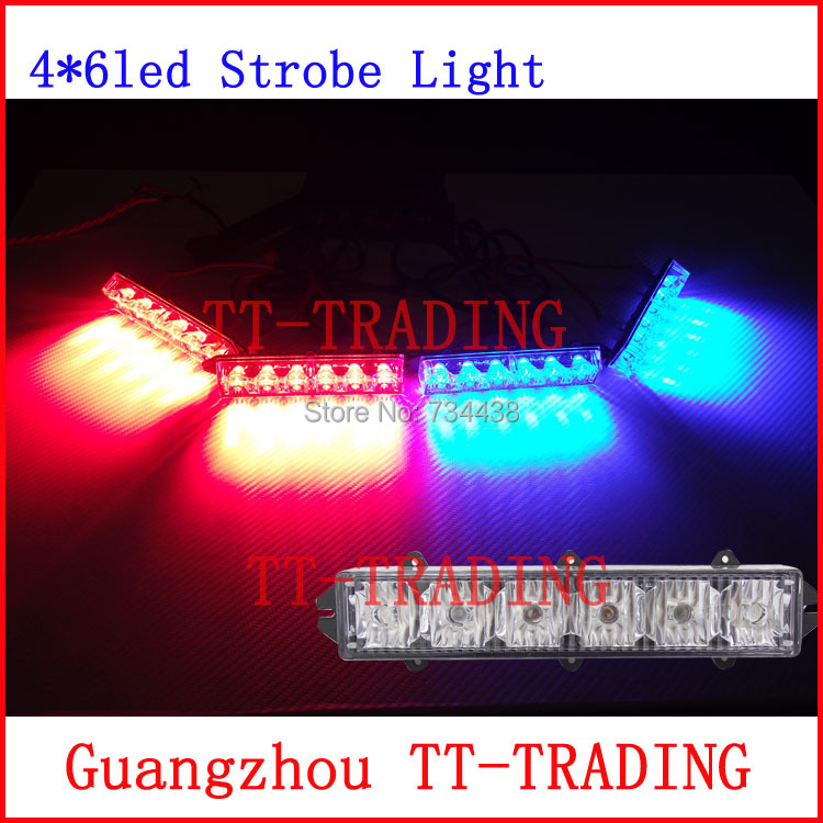 High power police Strobe Lights 24 LED car grille light emergency warning lights Auto vehicle strobe lamp RED BLUE AMBER WHITE