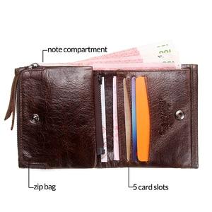 Image 3 - CONTACTS portefeuille homme en cuir véritable hommes portefeuilles marque de luxe porte carte mode porte monnaie organisateur petits portefeuilles hommes Walet