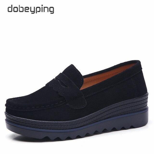 Dobeyping Neue Frühling Herbst Schuhe Frau Plattform Echtem Leder Frauen Wohnungen Dicke Sohle frauen Müßiggänger Mokassins Weibliche Schuh