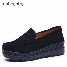 Dobeyping zapatos de plataforma de piel auténtica para mujer, mocasines femeninos de suela gruesa, estilo primavera otoño