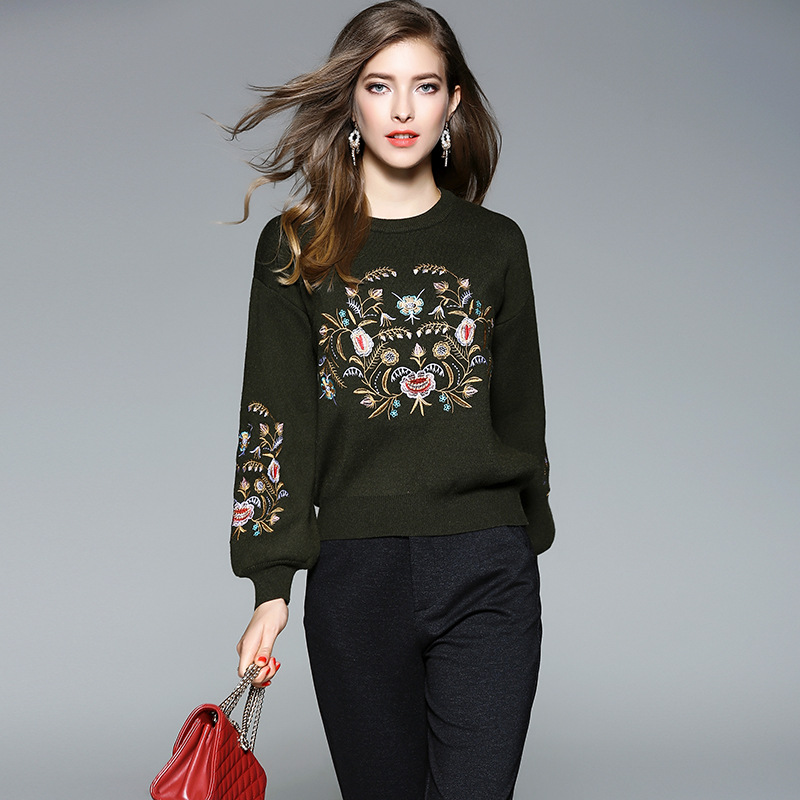 2017 Winter Female Ethnic Style Knitted New Fashion Design Floral Embroidery High Quality Pullover Long Sleeve Sweater Outwear
