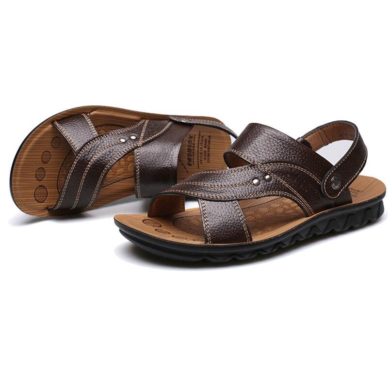 Sommer Männer Badesandalen Männliches Echtes Leder Schuhe