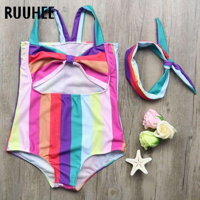 Ruuhee Anak One Piece Swimsuit 2018 Rainbow Bergaris Baju Renang untuk Anak-anak Baju Renang Bayi Syal Pakaian Gadis Pakaian Renang