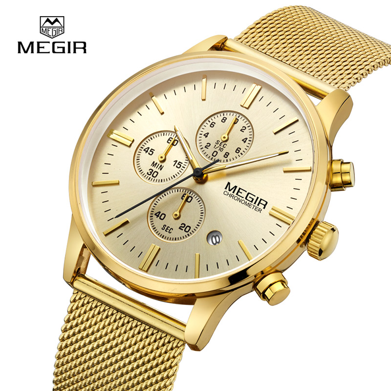 Men's 9 Stainless Wristwatch Chronograph Us21 Waterproof Men megir Steel Military Clock Band Male Luminous 90Off In Gold Mesh Business Watches VUMpqGSz