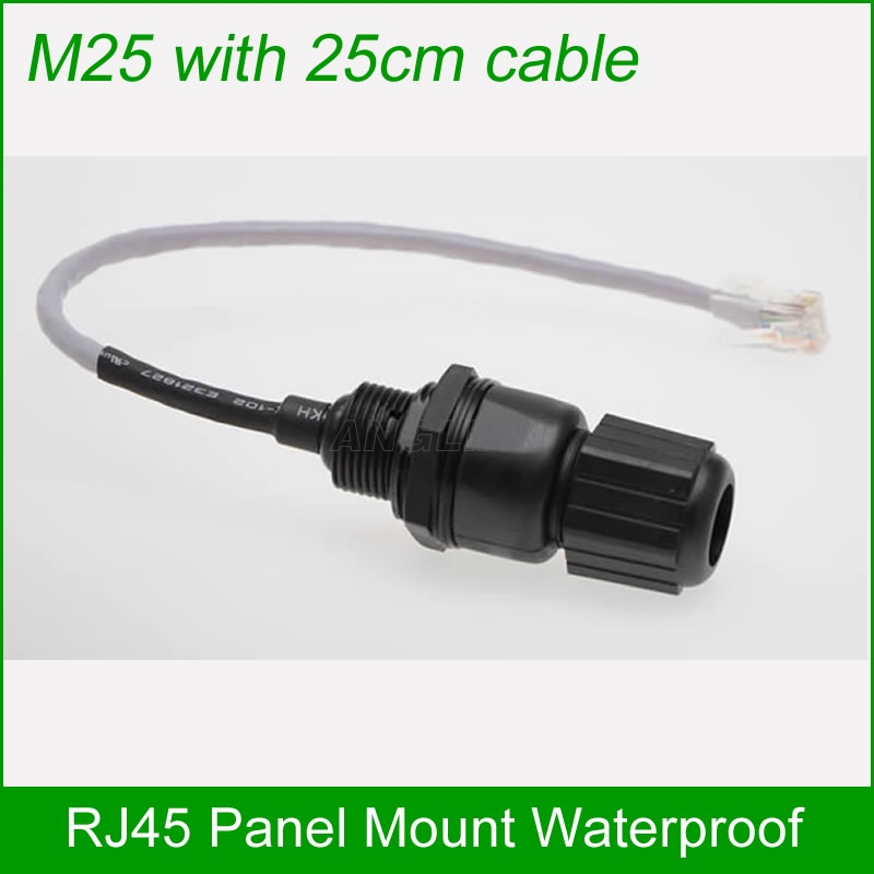 Shielded M25 Rj45 Cat 5e Gigabit Ethernet Waterproof Connector Plug Rj 45 Ap Outdoor Ip Camera Ip68 Water Proof Cable 25cm Computer & Office
