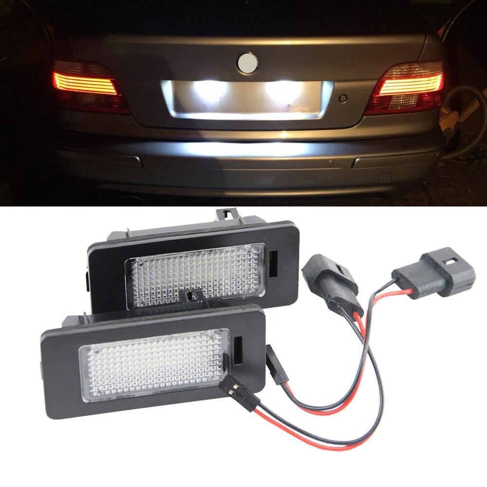 2Pcs Error Free LED License Plate Light for BMW E39 E60 E61 E70 E71 E82 E90 E91 E92 E93 24SMD Xenon White Led Tail License Lamp 1 pair 24smd led 3 5 series canbus led license number plate light lamp for bmw e39 e60 e61 e90 e92 xenon 12v dc white