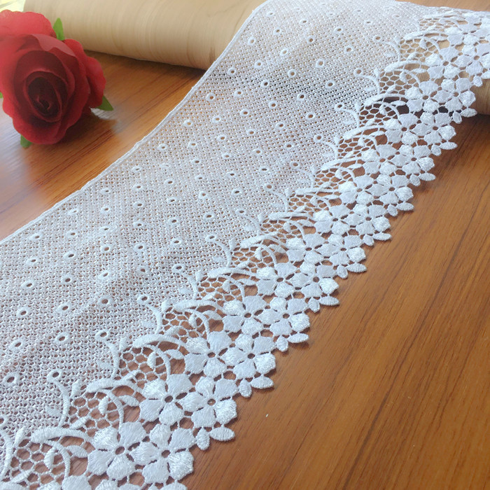 Top Quality 18cm White Black Lace Water Soluble Fabric Milk Rayon Material DIY Craft Accessary Free Shipping