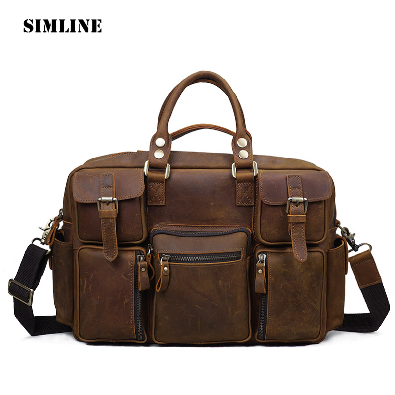 SIMLINE Vintage Retro Crazy Horse Genuine Leather Men Large Capacity Travel Handbag Handbags Shoulder Bag Bags Briefcase For Man simline vintage casual crazy horse genuine leather real cowhide men men s travel backpack backpacks shoulder bag bags for man